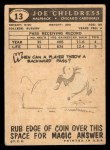 1959 Topps #13  Joe Childress  Back Thumbnail