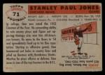 1956 Topps #71  Stan Jones  Back Thumbnail