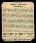 1933 Goudey Sport Kings #6  Jim Thorpe   Back Thumbnail