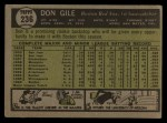 1961 Topps #236  Don Gile  Back Thumbnail