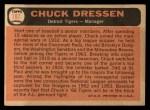 1966 Topps #187  Chuck Dressen  Back Thumbnail