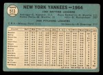 1965 Topps #513   Yankees Team Back Thumbnail
