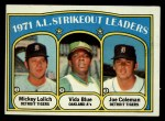1972 Topps #96   -  Vida Blue / Joe Coleman / Mickey Lolich AL Strikeout Leaders   Front Thumbnail