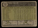 1961 Topps #101  Bubba Phillips  Back Thumbnail