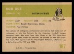 1961 Fleer #187  Bob Dee  Back Thumbnail