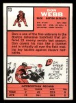 1966 Topps #13  Don Webb  Back Thumbnail