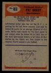 1955 Bowman #83  Pat Brady  Back Thumbnail