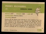 1961 Fleer #130  Perry Richards  Back Thumbnail