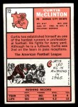 1966 Topps #72  Curtis McClinton  Back Thumbnail