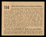 1938 Gum Inc. Horrors of War #114   Bomb Blows Penthouse from Roof of Building Back Thumbnail