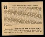 1938 Gum Inc. Horrors of War #93   Crack Rebel Calvary Attacks Loyalists Back Thumbnail