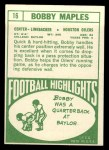 1968 Topps #16  Bobby Maples  Back Thumbnail