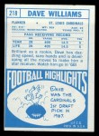1968 Topps #218  Dave Williams  Back Thumbnail
