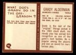 1967 Philadelphia #98  Grady Alderman  Back Thumbnail