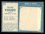 1961 Topps #82  Frank Youso  Back Thumbnail