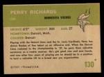 1961 Fleer #130  Perry Richards  Back Thumbnail