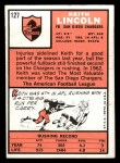 1966 Topps #127  Keith Lincoln  Back Thumbnail