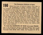 1938 Gum Inc. Horrors of War #190   The Homeless Children of Spain Back Thumbnail