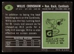 1969 Topps #21  Willis Crenshaw  Back Thumbnail