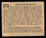 1938 Gum Inc. Horrors of War #273   Nanking Under Japanese Rule Back Thumbnail