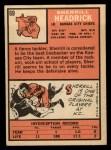 1966 Topps #69  Sherrill Headrick  Back Thumbnail