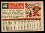 1959 Topps #402  Hector Lopez  Back Thumbnail