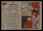 1957 Topps #51  Bill McPeak  Back Thumbnail