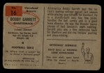 1954 Bowman #16  Bobby Garrett  Back Thumbnail