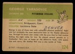 1961 Fleer #124  George Tarasovic  Back Thumbnail