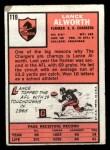 1966 Topps #119  Lance Alworth  Back Thumbnail