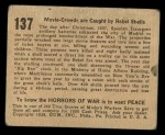 1938 Gum Inc. Horrors of War #137   Movie Crowds are Caught by Rebel Shells Back Thumbnail