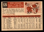 1959 Topps #526  Bob Speake  Back Thumbnail