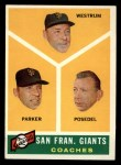 1960 Topps #469   -  Wes Westrum / Salty Parker / Bill Posedel Giants Coaches Front Thumbnail