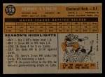 1960 Topps #198  Jerry Lynch  Back Thumbnail