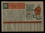 1959 Topps #236  Ted Bowsfield  Back Thumbnail