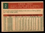 1959 Topps #2  Eddie Yost  Back Thumbnail