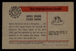 1953 Bowman Firefighters #52   Horse Drawn Steam Engine Back Thumbnail