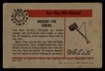 1953 Bowman Firefighters #1   Modern Fire Engine - Ward LaFrance Back Thumbnail