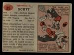 1957 Topps #25  Tom Scott  Back Thumbnail