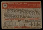 1952 Topps #204  Ron Northey  Back Thumbnail