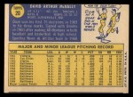 1970 Topps #20  Dave McNally  Back Thumbnail