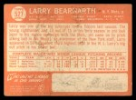 1964 Topps #527  Larry Bearnarth  Back Thumbnail