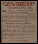 1953 Red Man #20 AL Bobby Shantz  Back Thumbnail