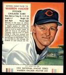 1953 Red Man #23 NL Warren Hacker  Front Thumbnail