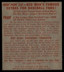 1953 Red Man #16 AL Billy Pierce  Back Thumbnail