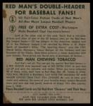 1952 Red Man #20 AL Bobby Shantz  Back Thumbnail