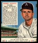 1952 Red Man #20 AL Bobby Shantz  Front Thumbnail