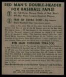 1952 Red Man #19 AL Saul Rogovin  Back Thumbnail