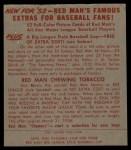 1953 Red Man #1 NL Chuck Dressen  Back Thumbnail