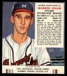 1953 Red Man #19 NL Warren Spahn  Front Thumbnail